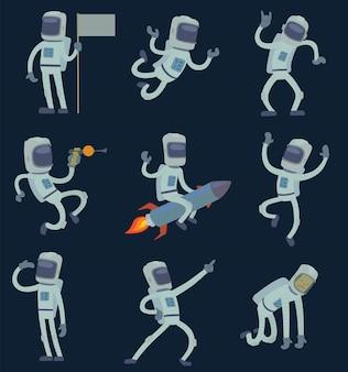 Astronautas no espaço, trabalhando e se divertindo.