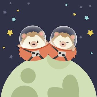 Astronautas ouriços sentado em um planeta