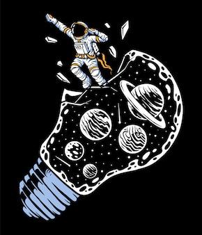 Astronautas saem voando do universo da lâmpada