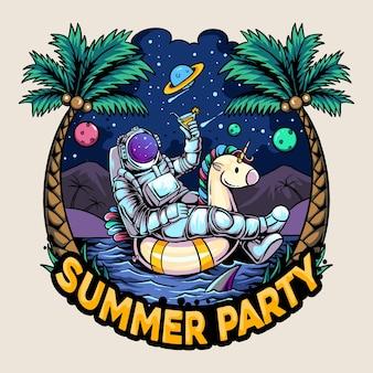 Astronautas sentam em um flutuador de unicórnio em uma ilha com uma praia cheia de coqueiros e um céu cheio de estrelas, planetas e luas e trazem um copo de cerveja
