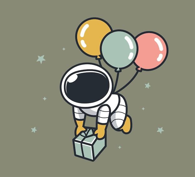 Astronautas voam com balões e presentes também