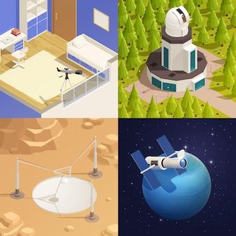 Astronomia 2x2 com telescópios domésticos e profissionais 3d isométricos