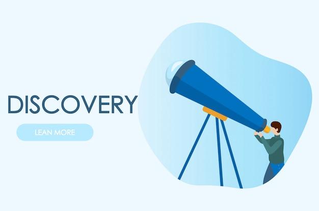 Astrônomo, olhando através do telescópio. conceitos para site e aplicativos. ilustração plana moderna vector.