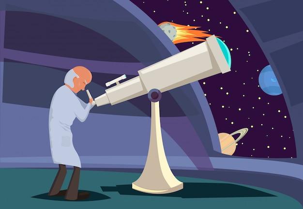 Astrônomo olhando pelo telescópio