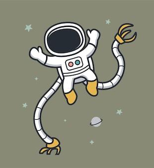 Astrononautas usam braços robóticos para andar