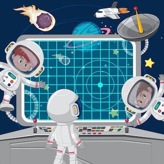Astronuats de crianças em uma nave espacial