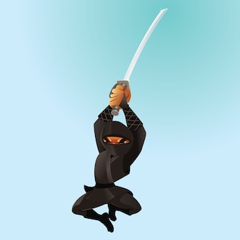 Atacando ninja preto