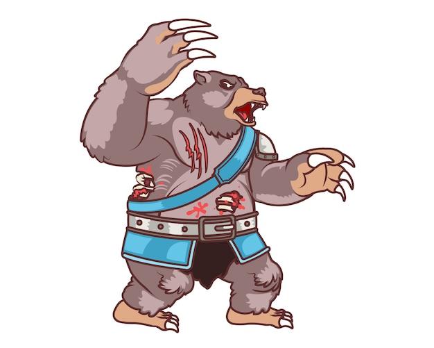 Atacando urso zumbi
