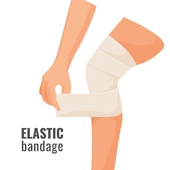Atadura elástica na perna ferida humana