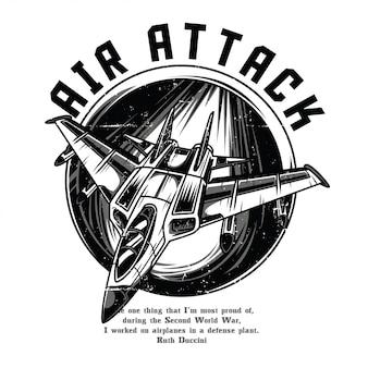 Ataque aéreo preto e branco