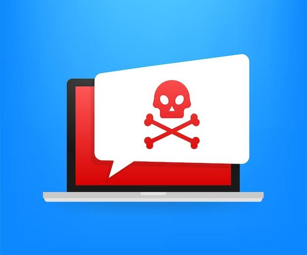 Ataque cibernético. phishing de dados com gancho de pesca, laptop, segurança na internet. ilustração em vetor das ações.