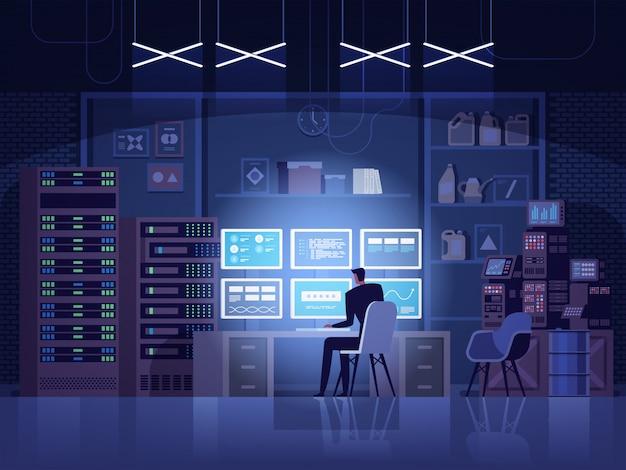 Ataque de hackers na internet e conceito de segurança de dados pessoais.