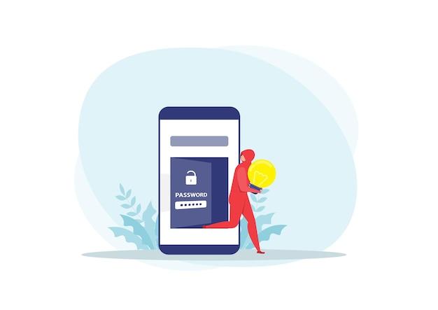Ataque de ladrão rouba ideias pessoais no conceito de celular