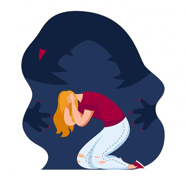 Ataque de pânico de personagem feminina, garota com medo de lesão mental antiga isolada no branco