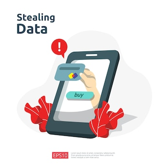 Ataque de phishing de senha. roubar dados pessoais. ilustração de conceito de segurança de internet