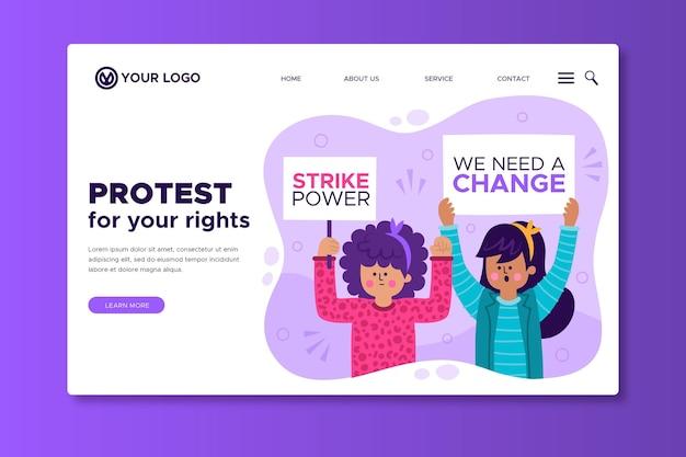 Ataque de protesto - página de destino