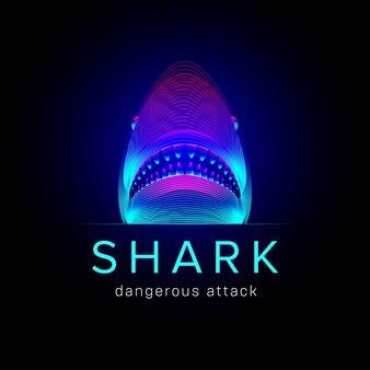 Ataque perigoso de tubarão. cabeça abstrata de uma baleia ou tubarão tigre com boca e mandíbulas abertas. ilustração em vetor 3d de uma grande silhueta de peixe marinho subaquático no estilo de linha de arte neon em um fundo escuro