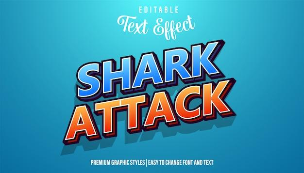 Ataque tubarão título jogo efeito texto editável estilo fonte