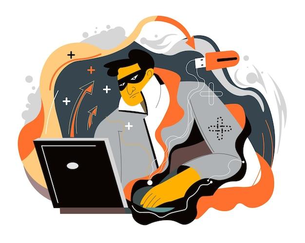 Ataques cibernéticos feitos por hackers profissionais sentados em um laptop. pessoa olhando para a tela do computador, codificando e roubando dinheiro. hackear sistemas poderosos e cometer crimes. vetor em estilo simples