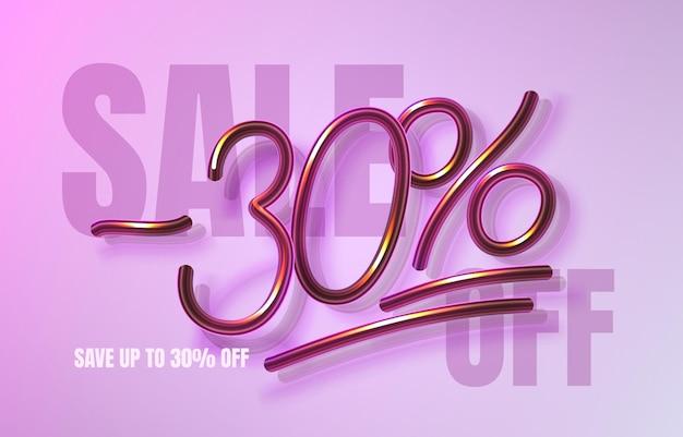 Até 30 de desconto em banner de venda, folheto de promoção, rótulo de marketing. ilustração vetorial