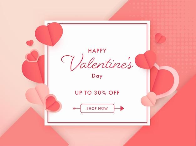 Até 30% de desconto para cartaz de venda do dia dos namorados ou design de banner com corações de papel vermelho.