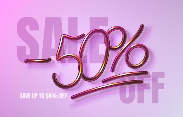 Até 50 de desconto em banner de venda, folheto de promoção, rótulo de marketing. ilustração vetorial