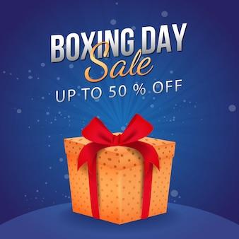 Até 50% de desconto na venda do boxing day, banner publicitário com caixa de presente.
