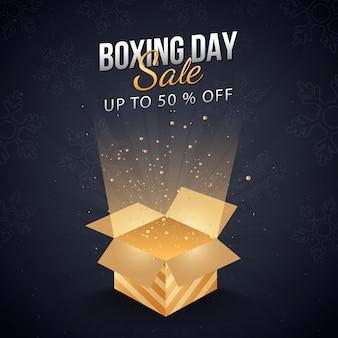Até 50% de desconto no banner de venda do boxing day com caixa de presente mágica.
