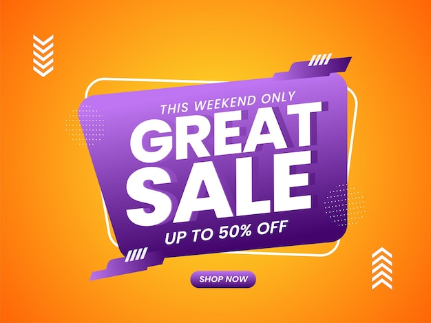 Até 50% de desconto no design de cartaz de grande promoção