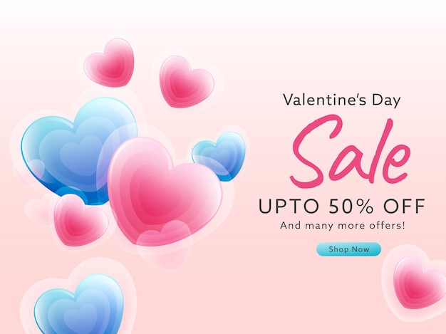 Até 50% de desconto para o design de cartazes de venda do dia dos namorados com coração brilhante
