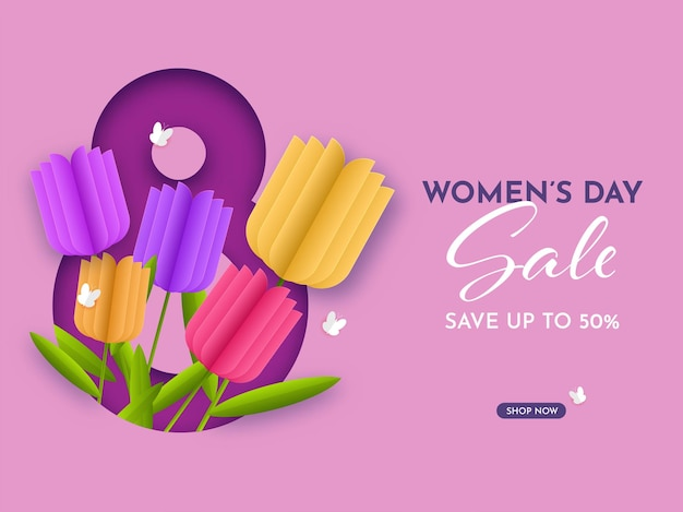 Até 50% de desconto para o dia da mulher promoção de pôster na cor rosa