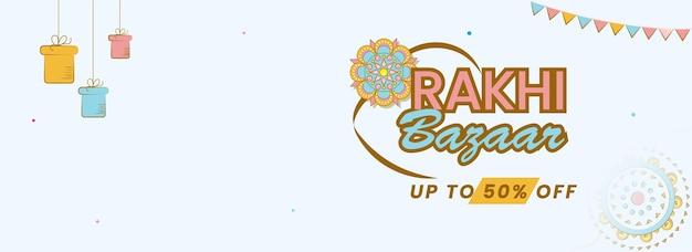 Até 50% de desconto para o rakhi bazaar header ou banner design na cor branca.