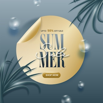 Até 50% de desconto para venda de verão design de cartaz decorado com bolas 3d.