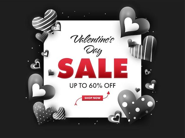 Até 60% de desconto para o dia dos namorados design de pôster com corações brilhantes na cor preto e branco