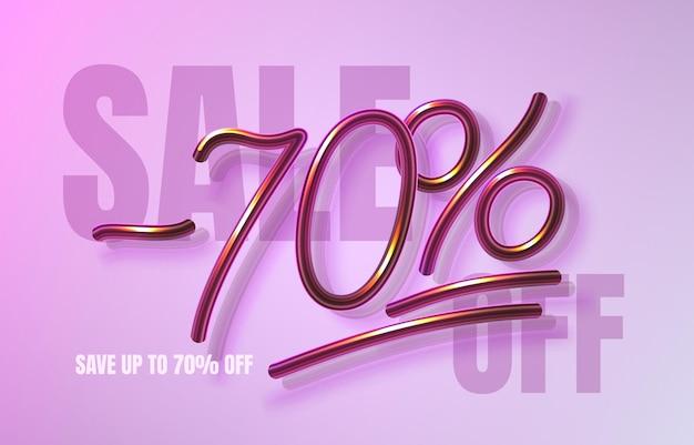 Até 70 de desconto em banner de venda, folheto promocional, rótulo de marketing. ilustração vetorial