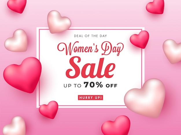 Até 70% de desconto no design de cartaz de venda do dia da mulher com corações brilhantes em 3d.