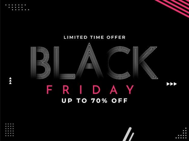 Até 70% de desconto no design de pôster da black friday sale