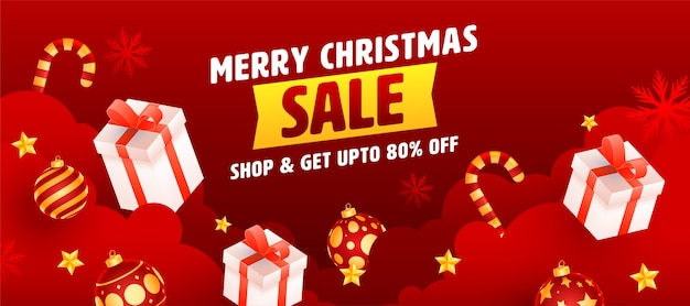 Até 80% de desconto para o design da mega promoção de feliz natal ou banner na cor vermelha