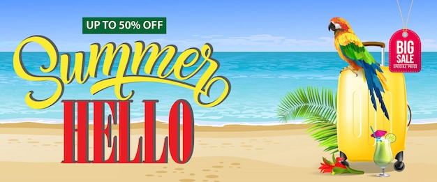 Até cinquenta por cento fora, banner de verão grande venda. cocktail fresco, flor vermelha, viagem amarela