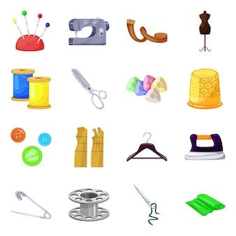 Ateliê e sinal de costura. ateliê de coleção e símbolo de estoque de alfaiataria.
