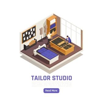 Atelier de moda de alta costura com vista isométrica do interior do estúdio