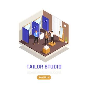 Atelier de moda estúdio alteração serviço de alteração de vestuário banner isométrico
