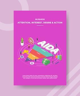 Atenção comercial, interesse, desejo, ação, pessoas em torno do funil de texto aida