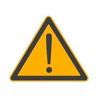 Atenção, cuidado, perigo no símbolo do sinal de triângulo ou elemento adesivo isolado no fundo branco