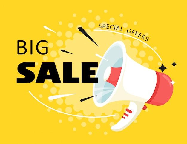 Atenção. grandes descontos, as vendas saem do alto-falante. grande dia de vendas. ilustração em estilo cartoon.
