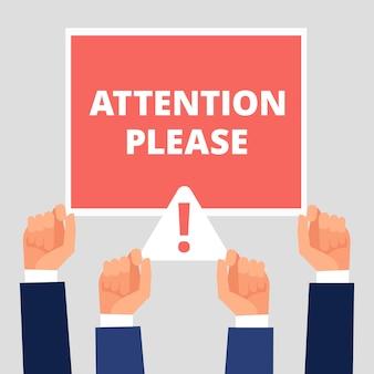 Atenção por favor alerta o anúncio, conceito de atenção