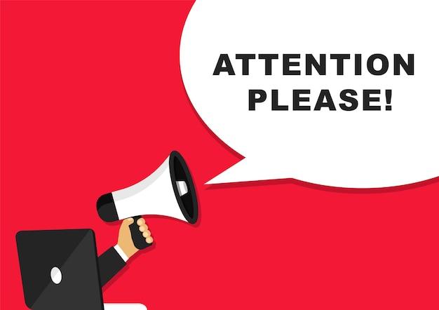 Atenção, por favor, banner com megafone e laptop.