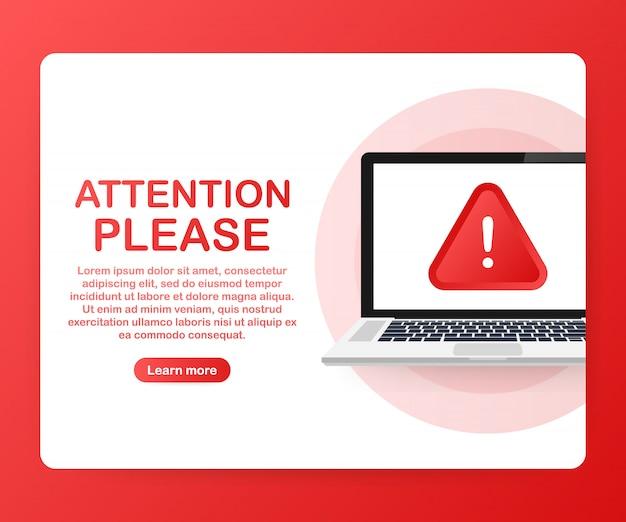 Atenção, por favor, banner ou modelo de página de destino. .