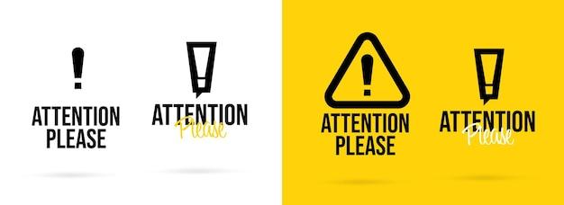 Atenção, por favor, crachá com conjunto isolado de design de marca de advertência