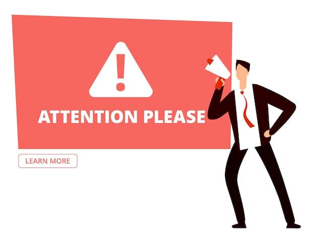 Atenção, por favor, modelo de banner com empresário com megafone